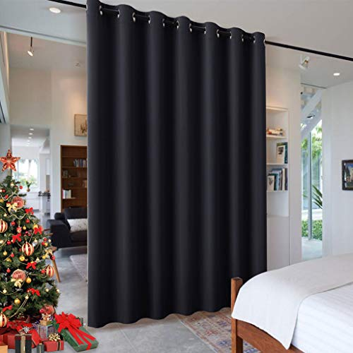 RYB HOME Blackout Curtains Room Divider, Total Privacy Wall Divider Screens Large Window Decor Sound Proof for Living Room Bedroom Patio Door Basement, 1 Panel, Black, 12.5ft Wide x 8ft Long