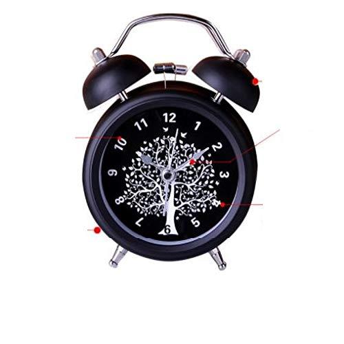 GYHJG Mini Reloj Despertador De Doble Campana Clásico De 3 Pulgadas con Pilas, Reloj Despertador Mecánico con Dial Estéreo, Luz Nocturna, Unidad De Cuarzo, Sin Tic Y Ruido (Negro)
