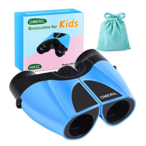 OMERIL Binoculars for Kids, 10x22 High Resolution Kids Binoculars for Bird Watching, Camping, Hiking, Hunting, Outdoor Games, Toy Gift for Kids 3-14 Years Old, Carry Bag Included