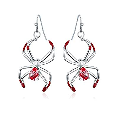 Halloween Bloody Spider CZ Dangle Earrings, Handmade Lightweight Earrings Gifts for Women Girls, Halloween Party Jewelry
