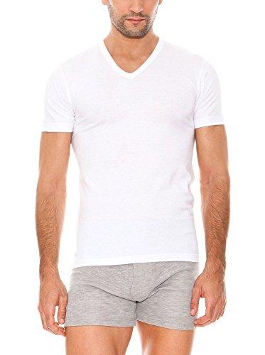ABANDERADO Camiseta de algodón Manga Corta Cuello Pico, Blanco, L para Hombre
