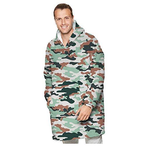 CHMORA Sweatshirt met capuchon voor volwassenen, oversized draagbare Sherpa hoodie deken, sweatshirt fleece deken, grote zak, super warm, gezellige deken met capuchon voor dames en heren, tiener