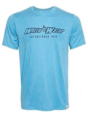 White Water Men's Hydroflex Short Sleeve Performance Shirt with UV50 Protection-Light Blue Medium
