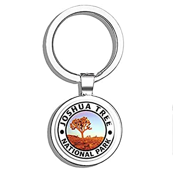 PRS Vinyl Round Joshua Tree National Park - Hike Travel ca Fun Camp Double Sided Stainless Steel Keychain Key Ring Chain Holder Car/Key Finder