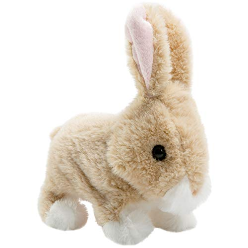 HollyHOME Plush Rabbit Easter Electronic Interactive Toy Jumping,Wiggle Ears,Mouth Moving Bunny Toy 7 Inches Tan Gifts for Kids