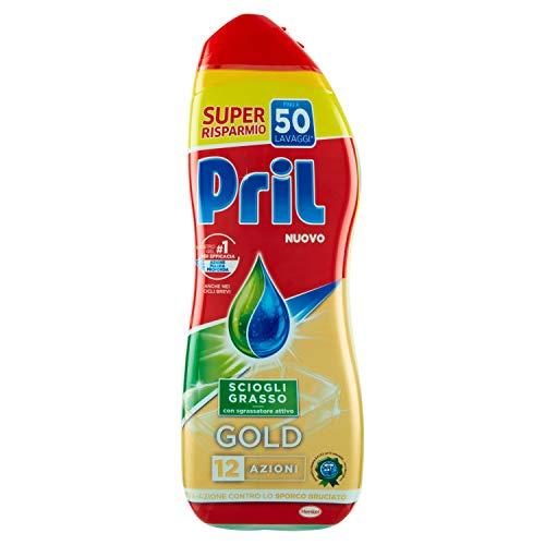 Pril Gold Sciogli Grasso, Detersivo lavastoviglie con sgrassatore attivo, 50 lavaggi, 900 ml