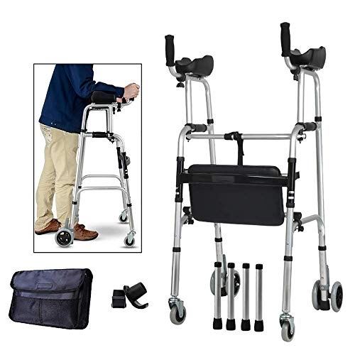 Wheel Walking Frame with Armrest Support Pad Thick Aluminum Alloy Rehabilitation Auxiliary Walking Frame Elderly Walking Aid Height Adjustable (with Seat)