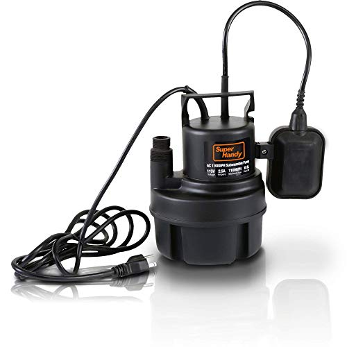 "SuperHandy Submersible Sump Water Pump 1/3 HP 1100 GPH 3/4"" GHT or 1"" Inch NPT 18' Feet Head Lift 115VAC Electric Heavy Duty Polypropylene Transfer from Ponds Tanks Pools Fountains Basements Cellars"