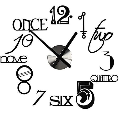 hufeng Reloj de Pared Estilo Abstracto Acrílico silencioso Reloj de Pared Decorativo Grande DIY Diseño Moderno Sala de Estar Decoración del hogar Reloj de Pared Pegatinas de Pared (80X70.5Cm)
