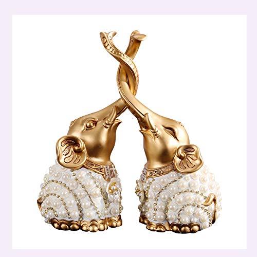 Estatuas de Feng Shui Un par de estatua de elefante de resina, buena suerte decoración para el hogar de la escultura animal ornamento regalo de boda decoración del hogar artesanía (color: dorado) Esta