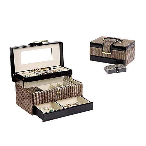 Espejo Grande Cajas de joyería Mujeres y niñas Pendiente Anillo Collar Pulsera Reloj Organizador con Cerradura