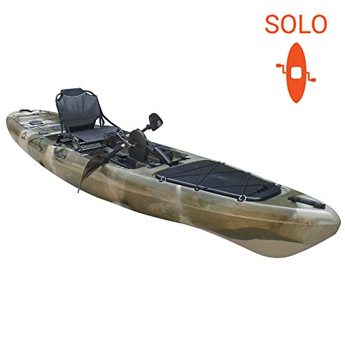 BKC PK13 Angler 13' Solo Sit-On-Top Fishing Kayak, w/Instant Reverse Pedal Drive, Rudder System, Paddle, and Upright Aluminum Frame Backrest Support Seat