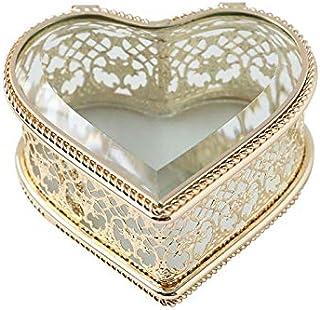 ECSWP La Tabella Nuova Figura del Cuore del Diamante Gioielli in Vetro Storage Box Collana Anello Dressing Trucco dell'org...