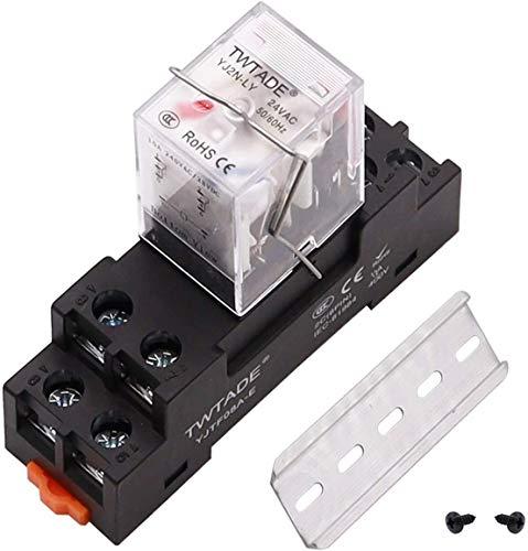Relé de alimentación electromagnética DPDT de 8 pines (2NO 2NC) bobina indicador LED relé con YJTF08A-E hembra/carril ranura de aluminio/tornillo/gancho base YJ2N-LY-AC 24V