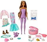 Barbie Color Reveal Peel Doll Set with 25 Surprises, Mermaid Fantasy Fashion Transformation, Including Pink Peel-able Doll, Pet, 16 Mystery Bags with Clothes & Accessories for 2 Mermaid-Inspired Looks