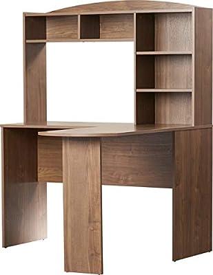 Wood Desk with L Shape - Desk with Shelves - Saint Walnut