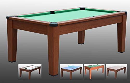 Tavolo da Biliardo trasformabile in Tavolo - Poker - Air Hockey - Ping Pong - Daytona 5 in 1 - Carambola - (196 cm x 110 cm x 82 cm) - Completo di Tutti Gli Accessori