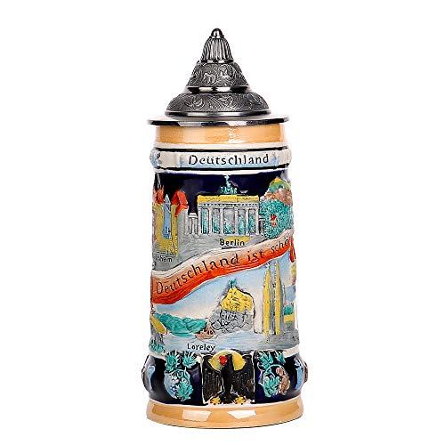 Taza de cerámica alemana de 0,85 L, para cerveza, Oktoberfest, Tankard Eagle Deutschland Bierkrug de cristal para beber, cuerno de café para hombres, tapa de petwer de Alemania,...