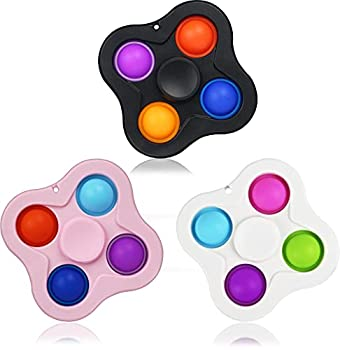 2 in 1 Push Pop Bubble Fidget Spinner Sensory Toy for Kids and Adults 3 Pack Colorful Fidget Popper Hand Spinner Fidget Pack for Stress Relief Anxiety Relief ADD ADHD and Killing Time