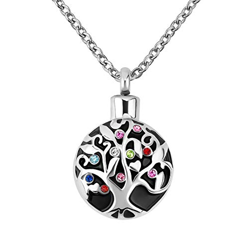 LovelyCharms Tree of Life Urn Necklace for Ashes Stainless Steel Keepsake Memorial Cremation Pendant (I Love You to The Monn and Back)