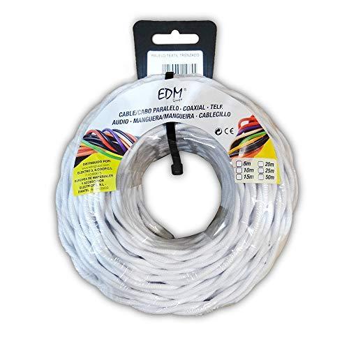 EDM 11990 Câble parallèle Textile tressé, Blanc, 3 x 2,5 mm x 25 m