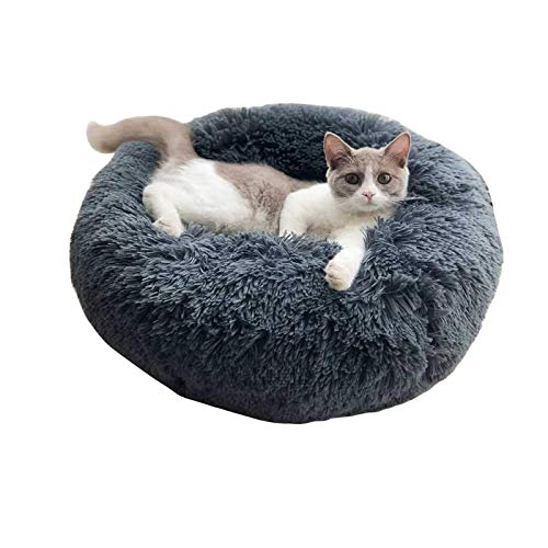 ToKinCen Plush Donut Pet Bed, Dog Cat Round Calming Dog Bed Fluffy Cushion Cuddle Cozy Pet Nest Sofa Round Bed Sleeping Nest For Small Medium Dogs Cats Kitten Puppy Non-Slip Bottom