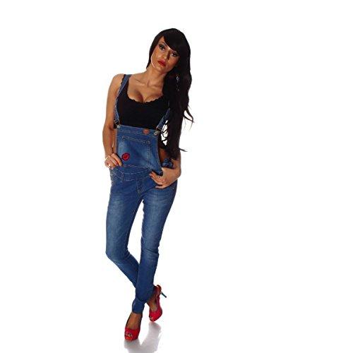Fashion4Young 10696 Damen Latzhose Hose Pants mit Träger Röhren Jeans Overall Jeanshose Trägerhose (L=40, Blau)