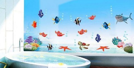 Cartoon Cute Wonderful Ocean World With Various Sea Animals Removable Vinyl Wall Stickers Wall Decal For Nursery Room Kindergarten