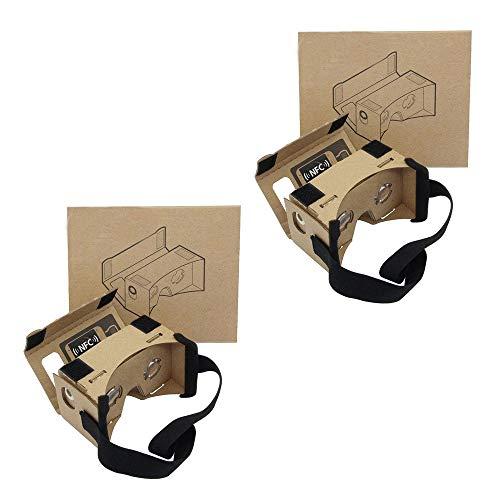 2Pack Google Cardboard, virtuelle echter laden Virtual Reality 3D Karton Brille Google Cardboard mit Einstellbar Komfort Kopfband und Ultra Clearer Linsen für alle 4-6 Zoll Smartphones