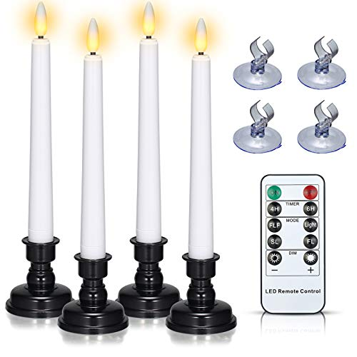 Christmas Window Candles Battery Operated, PChero 4pcs Flameless Taper Candles with Timer Remote, Black Holders & Suction Cups, Flickering LED Candle Lights for Thanksgiving Seasonal Decoration