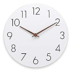 12'' Wooden Wall Clock - Plumeet Frameless Clocks with Silent Quartz Movement - Modern Style Village Wall Clocks Decorative Home Kitchen - Battery Operated (White)