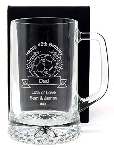 Engraved/Personalised *Football Design* Pint Glass Tankard (Cardboard Gift Box)