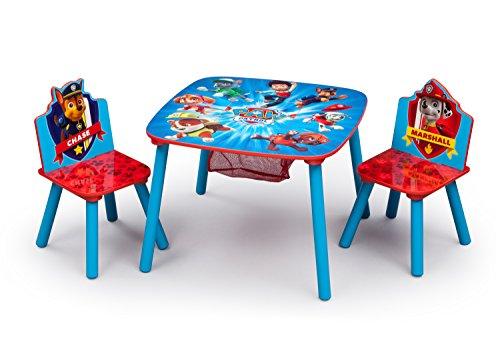 Delta Children Kids Table and Chair Set With Storage (2 Chairs Included) - Ideal for Arts & Crafts, Snack Time, Homeschooling, Homework & More, Nick Jr. PAW Patrol