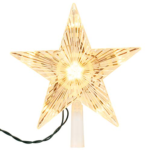 """Christmas Tree Topper Star Lighted with Built-in 10 Replaceable Bulbs, 9.5"""" Clear Five-Pointed Star Tree Topper Plug in for Indoor Office Xmas New Year Holiday Tree Decoration, Warm White"""