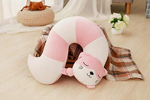 XINRUIBO Plüschtiere Fox/Eichhörnchen/Katze/Waschbär Tier Schwanz U-Kissen Home Decoration Nap Kissen for Kinder 42 * 32CM Brwon eichh?rnchen stofftier (Color : Pink, Size : 42 * 32CM)