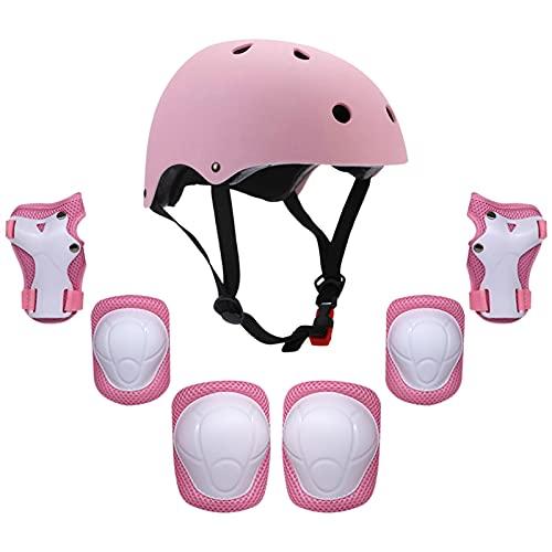 Equipo De Protección Para Niños, Niños 7 en 1 Casco y almohadillas Set Ajustable Kids Rodilla Pads Codo Pads Muñequeras Guardias para Scooter Skateboard Roller Patinaje Ciclismo ( Color : Pink )