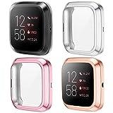 KIMILAR Funda Compatible con Fitbit Versa 2 Protector de Pantalla (NO para Versa/Versa Lite/SE), [4 Pack] Suave TPU Cubierta Cover Case para Versa 2 Smartwatch, Rose/Rose Gold/Silver/Clear