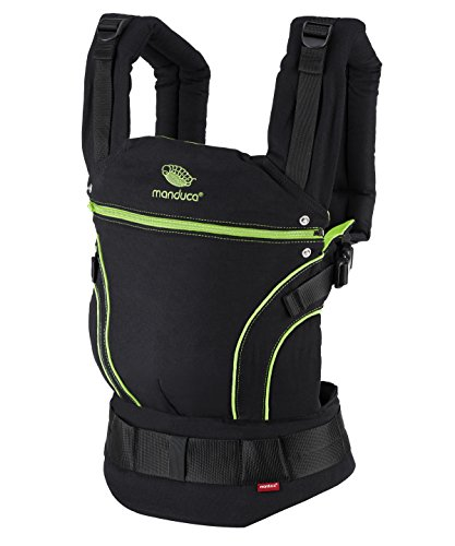 manduca First Baby Carrier > Black Line ScreaminGreen < Babytrage aus Bio-Baumwolle (Organic Cotton), Rückentrage, Bauch- und Hüfttrage, für Babys ab 3,5kg und Kleinkinder bis 20 kg (schwarz-grün)