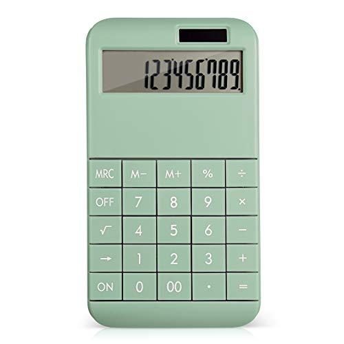 EooCoo Calculadora Basica con Pantalla LCD Grande de 12 dígitos e de Pulsante Grande, Batería Solar Dual Power - Verde