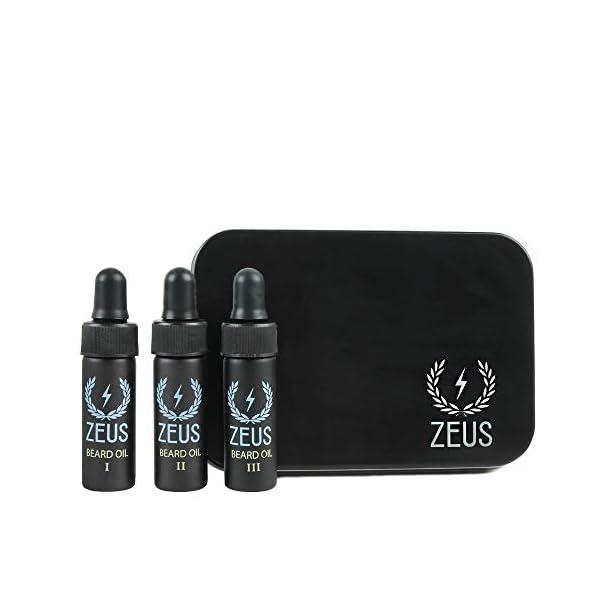 ZEUS Beard Oil Coffret - Beard Oil Sampler 3 Pack in Collectible Zeus Tin! 1