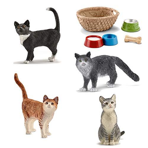 Farm World Schleich Katzen (13770 + 13771 + 13836 + 13893) + 42293 Futter für Hunde und Katzen