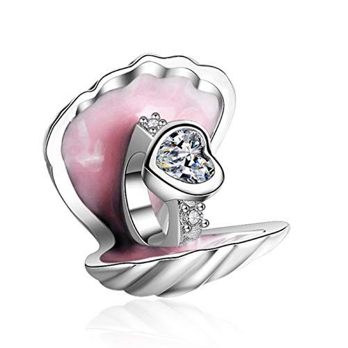 EvesCity Bolenvi - Anillo de compromiso de plata de ley 925 con concha marina, alianza de matrimonio, promesa de almeja, colgante para pulseras y collares