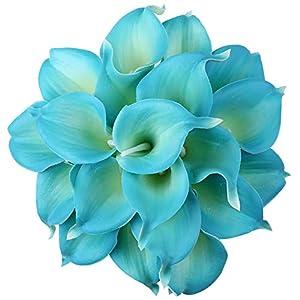 Leagel Calla Lily Bridal Wedding Bouquet Head Lataex Real Touch Flower Bouquets (20, Blue)