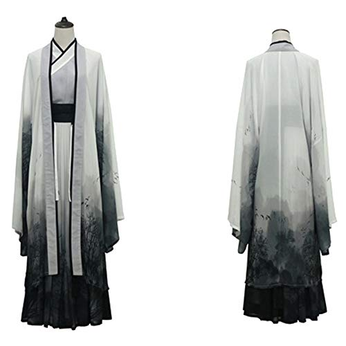 Traje tradicional chino Hanfu Dress cosplay Hanfu cosplay de tres piezas china antigua Elementos Hombres de Escenario del teatro de la dinastía Tang Hanfu Hanfu gris ( Color : Gris , tamaño : METRO )