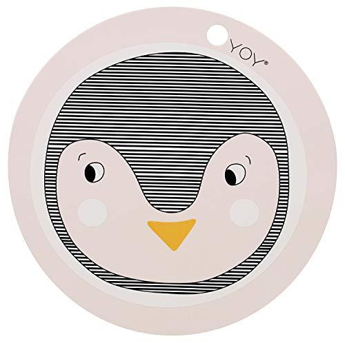 OyOy Mini Penguin Placemat: Tischset Platzset für Baby und Kinder mit Pinguin Abwaschbar Ø 39 cm aus 100% Silikon