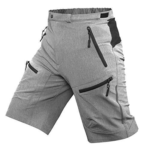 ALLY MTB Hose Herren Radhose, Wasserabweisend Mountainbike Kurz, Outdoor Sport Fahrradhose Herren Shorts (Grau ohne Unterwäsche, 3XL(Taille:39