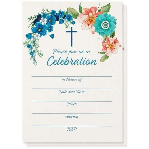 Religiöse Einladungskarten zum Ausfüllen, 50 Stück, Christliche Einladungskarten auf Englisch, Für Taufe, Beerdigung, Kirchliche Veranstaltungen, Umschläge Inklusive, 12,7 x 17,8 cm