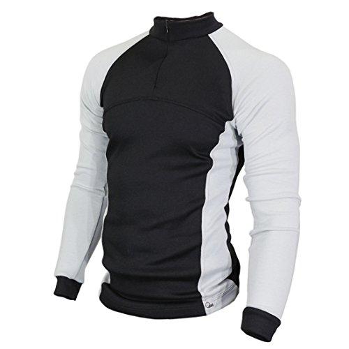 Raptor Hunting Solutions Merinowolle Thermal Unterwäsche Base Layer Langarm Kragen Reißverschluss Shirt Schwarz Grau Black-Grey (XXL)