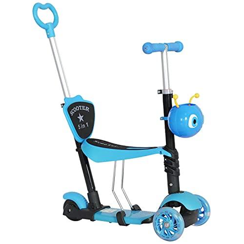QBLDX 5-in-1 Kids Toddler 3 Wheels Mini Kick Scooter Push Walker Adecuado para Niños de 1 a 8 años