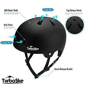 TurboSke Skateboard Helmet, Cycling Helmet, Scooter Helmet for Kids, Youth, Men, Women, Adult (L/XL, Matte Black)